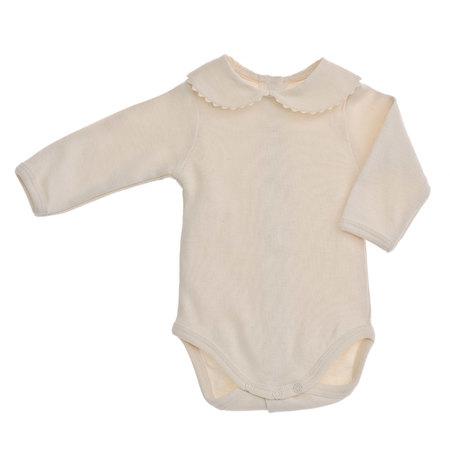 ピコット刺繍の丸襟長袖ボディ