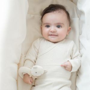 うさぎ模様 前合わせ 長袖ボディ ベビー 赤ちゃん 肌着 BB08018