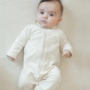 ピコット編み えり&足つき長袖カバーオール