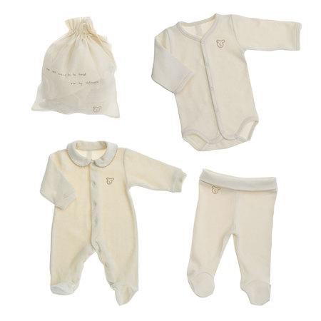 カバーオール+長袖ボディ+足つきパンツ3点セット(袋つき) ベビー 赤ちゃん 肌着 BB04002