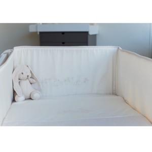 うさぎ刺繍ベビーベッド側面用保護シート(ベッドバンパー)