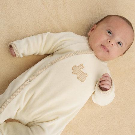 うさぎのアップリケ前合わせ長袖カバーオール ベビー 赤ちゃん 肌着 BB13231